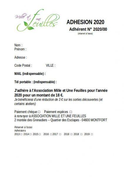 Bulletin Adhésion 2020 1